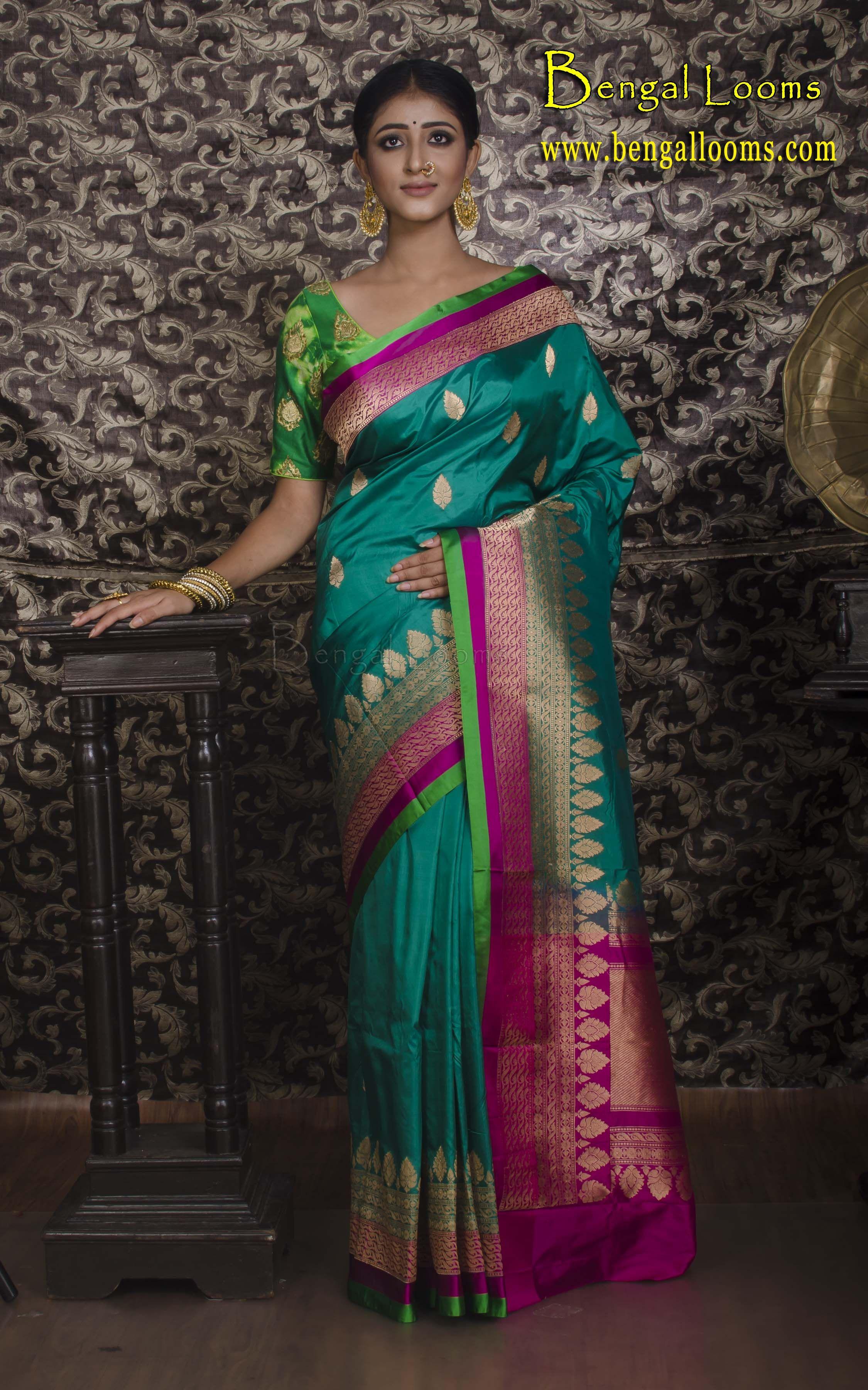 Traditional Designer Bollywood Style Bridal Saree Green pure banarasi silk sari Banarasi Soft Silk Saree Indian Wedding Saree for Women