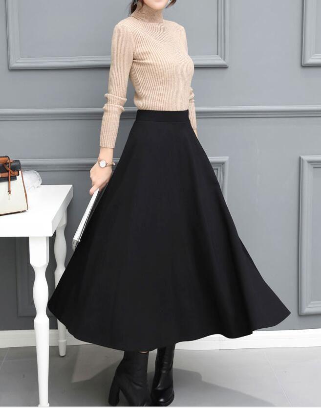 d34cd1c07 Winter Black Long Skirts, Fashionable Skirts 2018 for women, #longskirts,  #autumnskirts