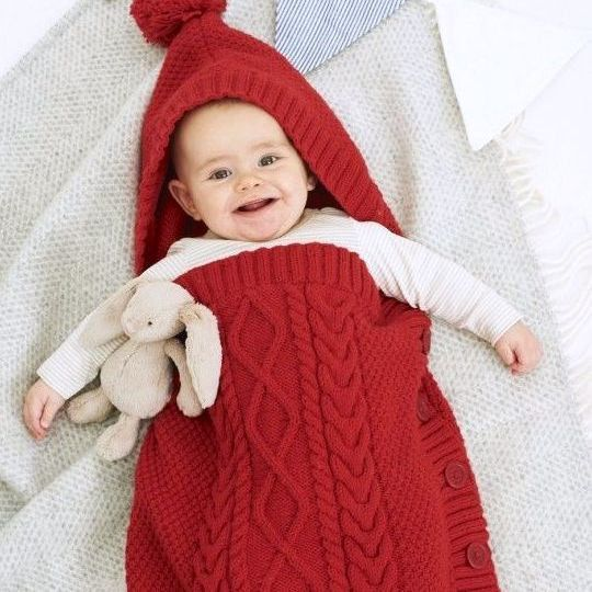 1a609a82b60a Knitting Pattern Baby Sleeping Bag Cocoon Sleep Sack Papoose Cable ...