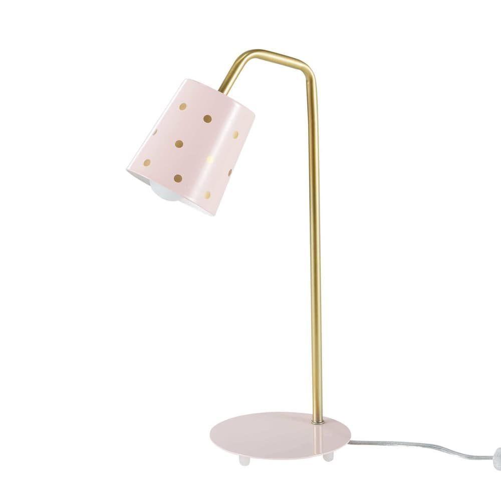 Lampe De Bureau En Metal Rose Et Dore En 2020 Lampe De Bureau Bureau Metal Chambre Fille Maison Du Monde
