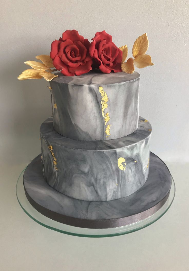 Marble grey 2 tier wedding cake with metallic gold leaf
