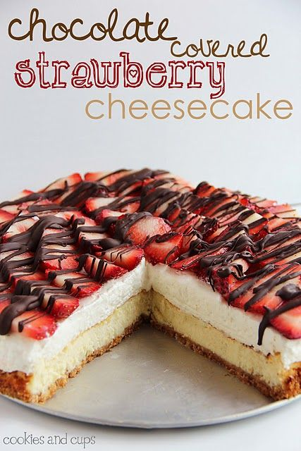 Chocolate Covered Strawberry Cheesecake. An easy but impressive cheesecake.  Perfect for Mother's Day!
