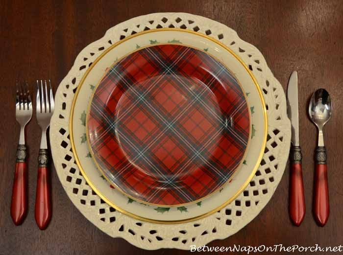 Lenox Holiday Dinner Plate and Williams-Sonoma Tartan Salad Plate : holiday dinner plates - pezcame.com
