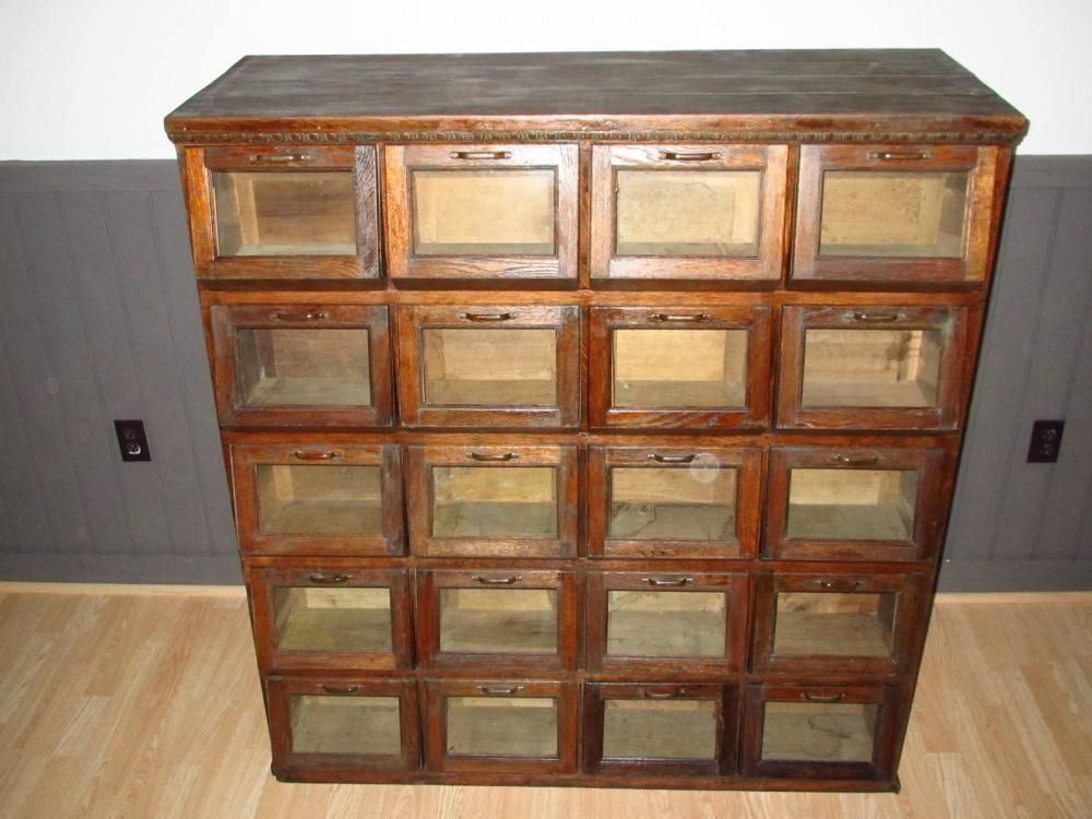Antique Counter Store Bin Cabinets | Walker Bin Seed Cabinet with 20  Pivoted Drawers - Furniture - Antique Counter Store Bin Cabinets Walker Bin Seed Cabinet With
