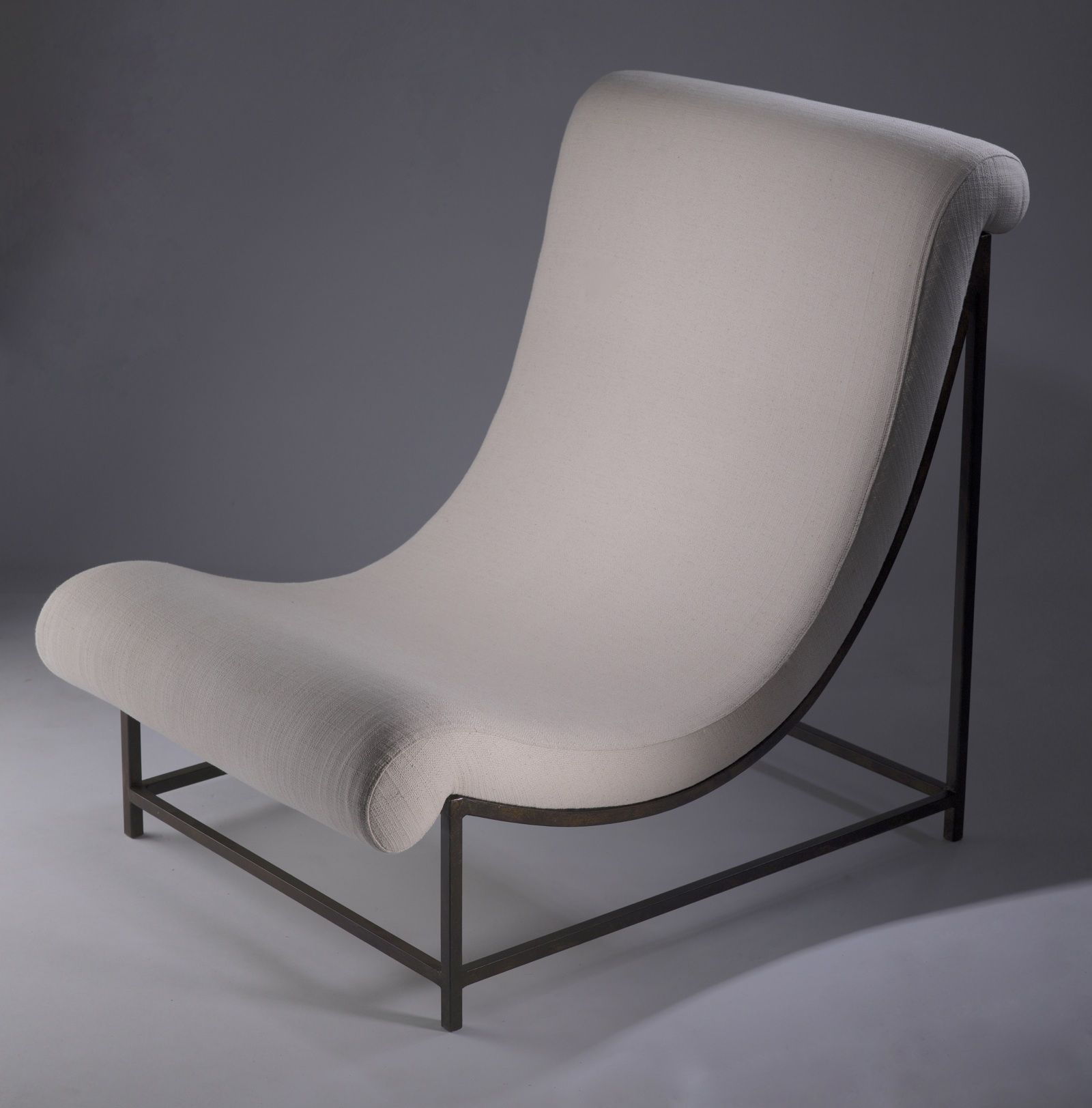 wrought iron 'elen' chair in brown bronze finish with cream linen upholstery