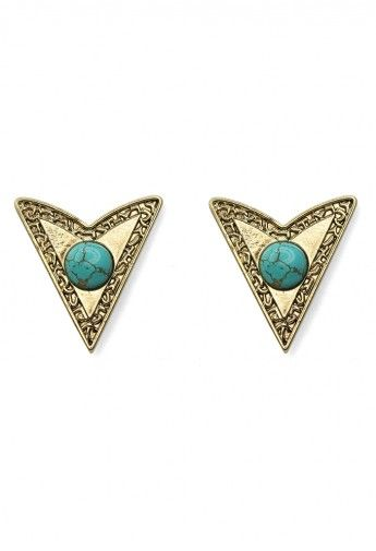 Dart Shape Collar Studs with Turquoise Beads