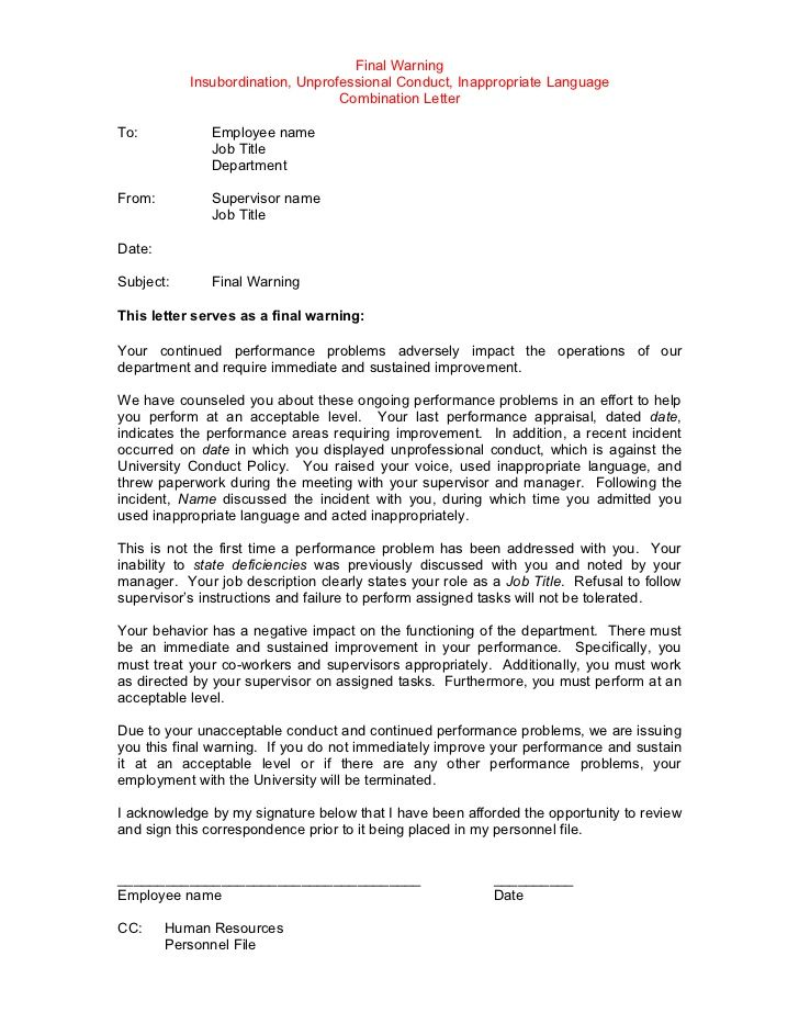 template disciplinary lettersexamples gables letter termination ...