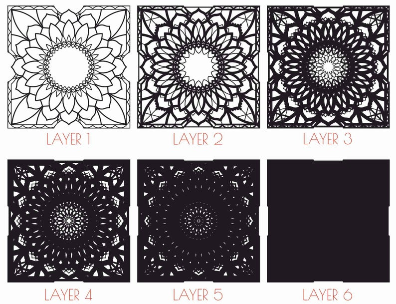 MultiLayer Mandala DXF Laser Cut; Abstract Wall Art Mandala Square; Pattern for draw or cut with CNC router; Dxf,Cdr,Pdf,Svg 9 Model 63WE