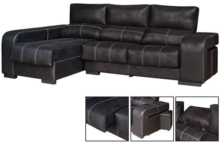 Chaise longue extraible y reclinable con pouffs on chaise recliner chair, chaise furniture, chaise sofa sleeper,