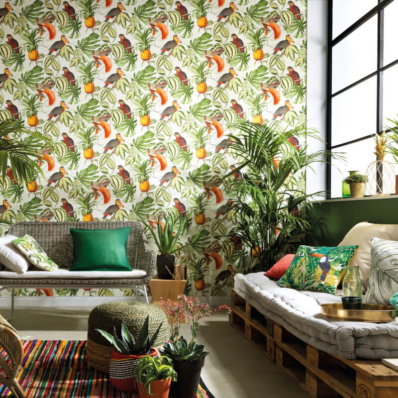 Erismann Birds of Paradise Orange/Multi Wallpaper 6302