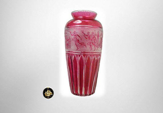 Val St Lambert vintage cameo art glass vase in red  by RareAndFair