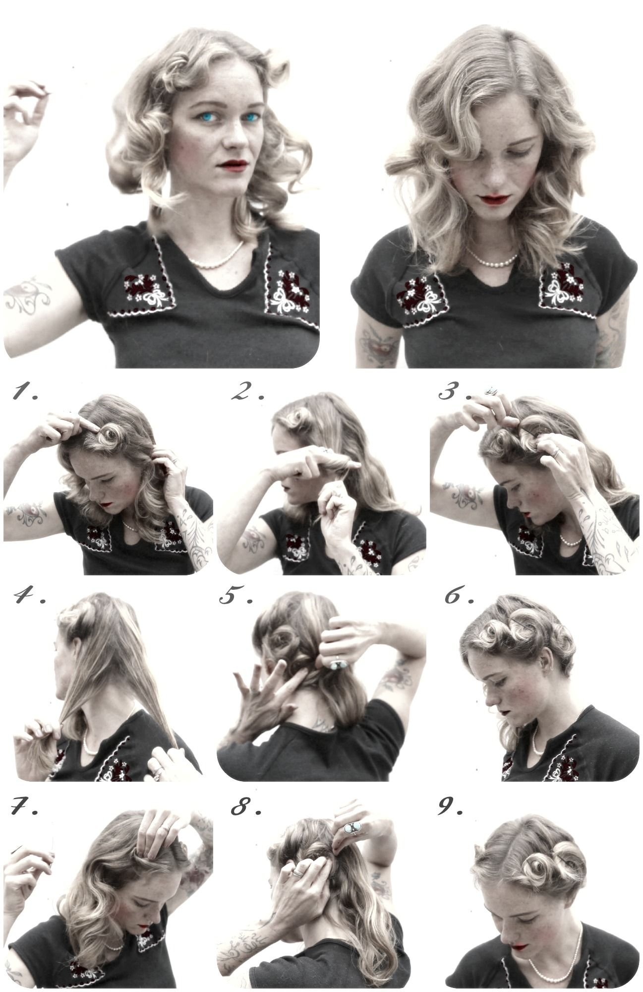 easy curl for vctory curls Easy 1940 s pin curl set