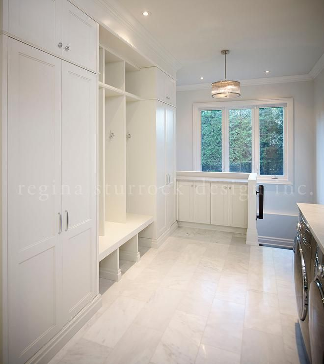 Upstairs Mudroom And Laundry Room Combo Features Floor To