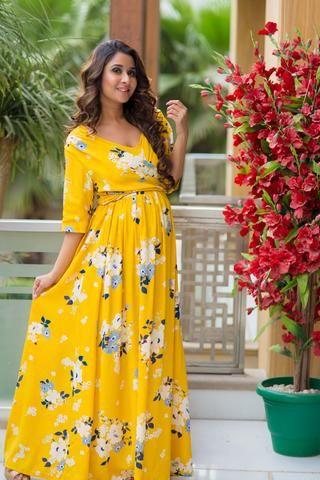 0f41cc68e3e Hello Yellow Floral Maternity   Nursing Wrap Dress  momzjoy   ownyourconfidence  maternityfashion  nursingwear  nursingstyle  comfort   India  pregnancy  love ...