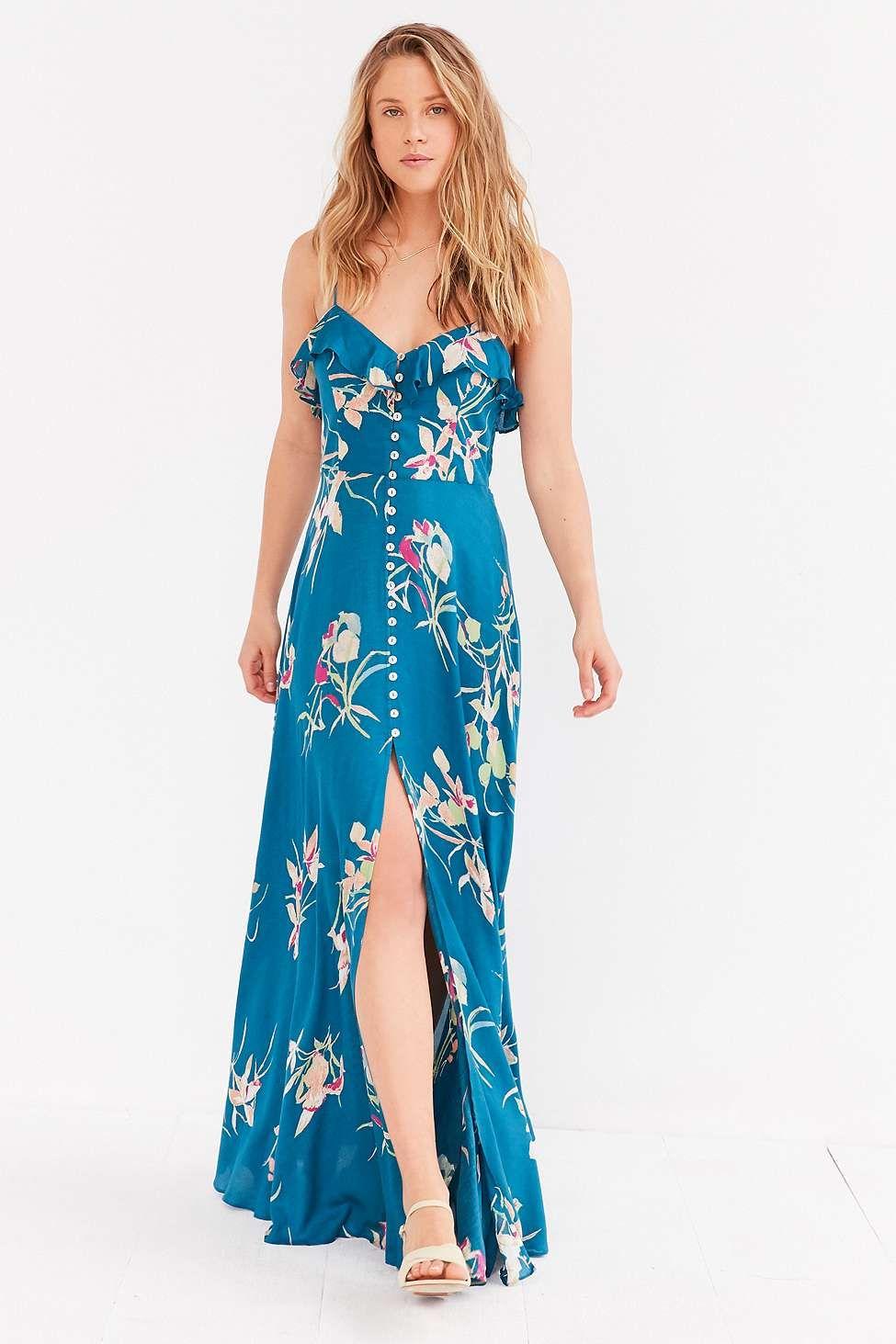 9823e5023fa Kimchi Blue - Robe longue boutonnée La Playa bleue