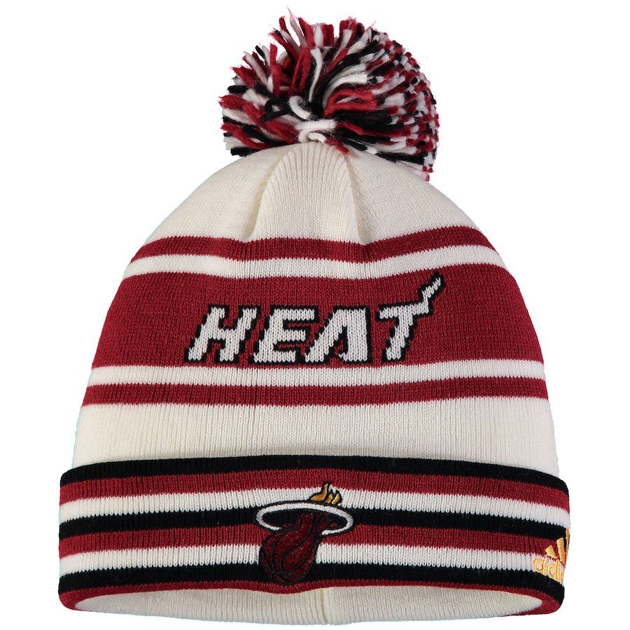 Youth Miami Heat adidas Red Cuffed Knit Hat With Pom 838cfcaeb