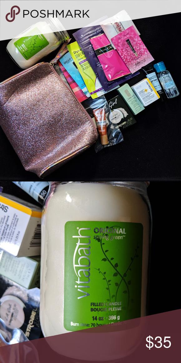 Pink Glitter Ulta Makeup Bag With Sample Lot NWT Pink