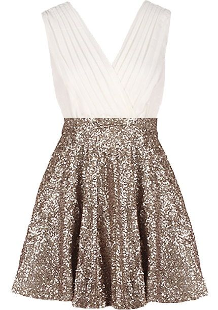 Glitter empress dress gold sequin skirt bodice and ash for Glitter new years dresses