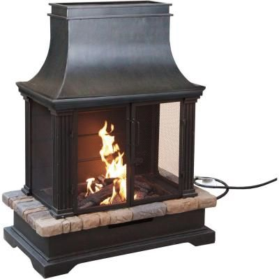 Steel And Slate Propane Gas Outdoor Fireplace