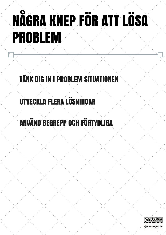 NÅGRA KNEP FÖR ATT LÖSA PROBLEM TÄNK DIG IN I PROBLEM SITUATIONEN U...