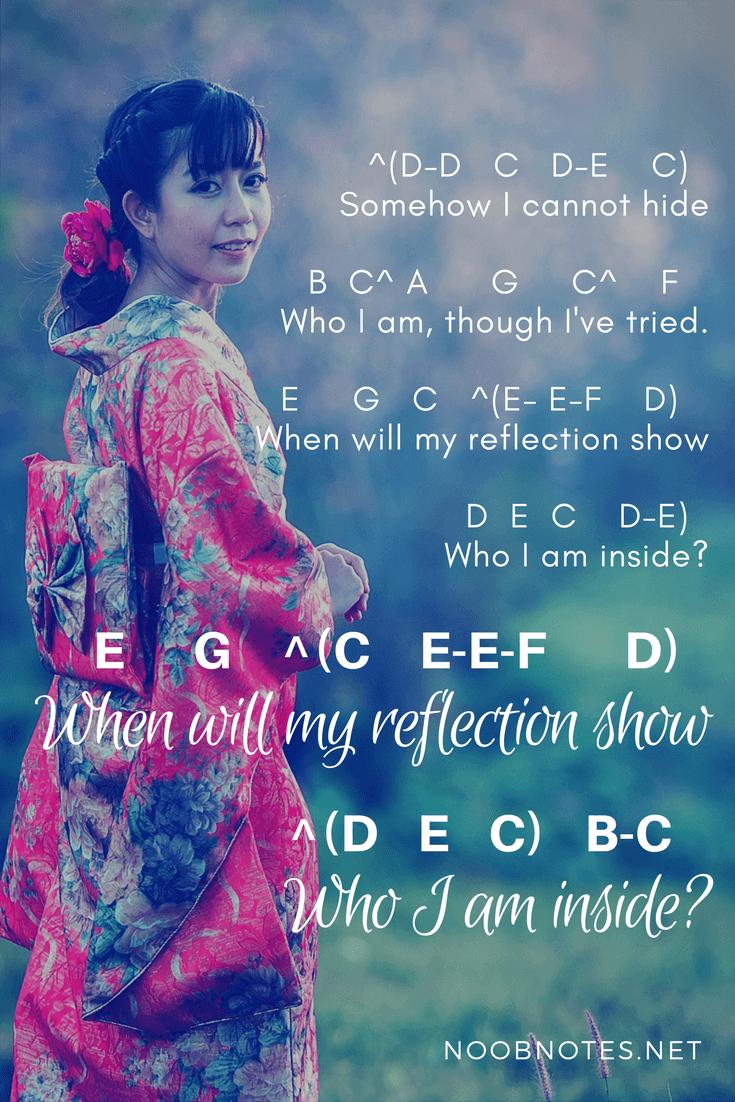 Reflection Mulan Disney Music Notes Pianos And Instruments