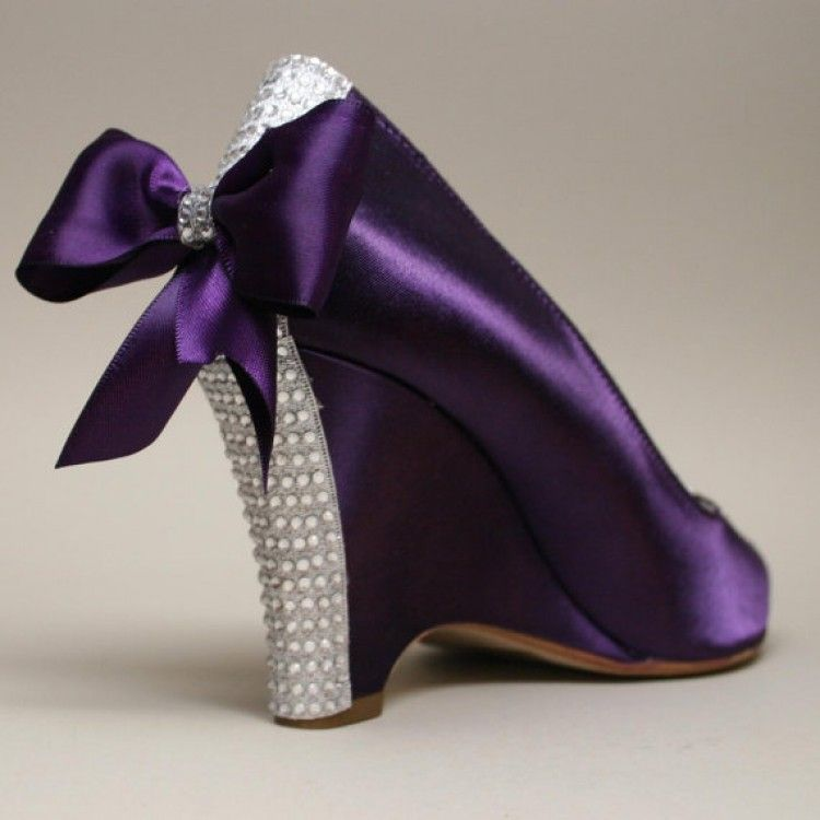 Purple Shoe With Bows And Rhinestones 3 Purple Wedding Shoes Wedge Wedding Shoes Purple Wedges