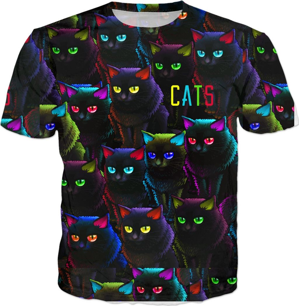 CATS, black cats all over tshirt | Displate thumbnail
