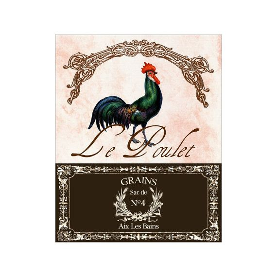 Le Poulet III - Romantic French Rooster - Rooster Art Print - 8x10 Print - French Country Cottage Style - Kitchen Decor - Farm Animal