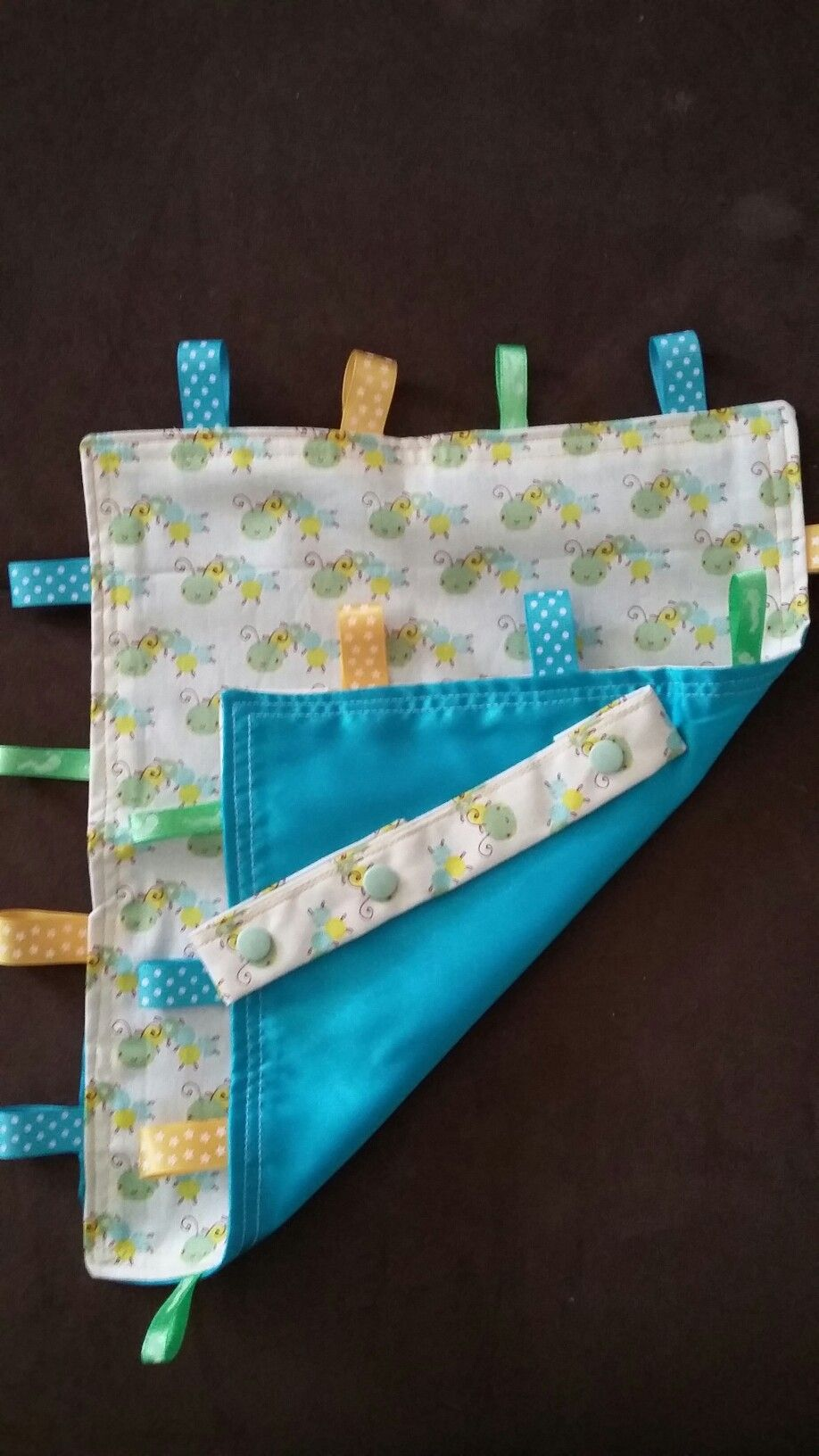 Taggie blanket and dummy clip from Ollyvobscrafts at Etsy and Facebook.