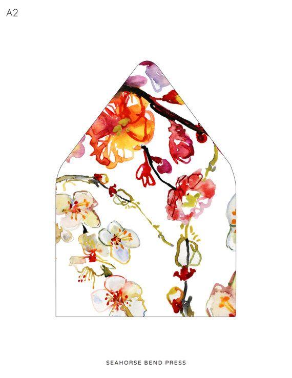 Printable Custom Envelope Liner Template Watercolor Apple Blossom