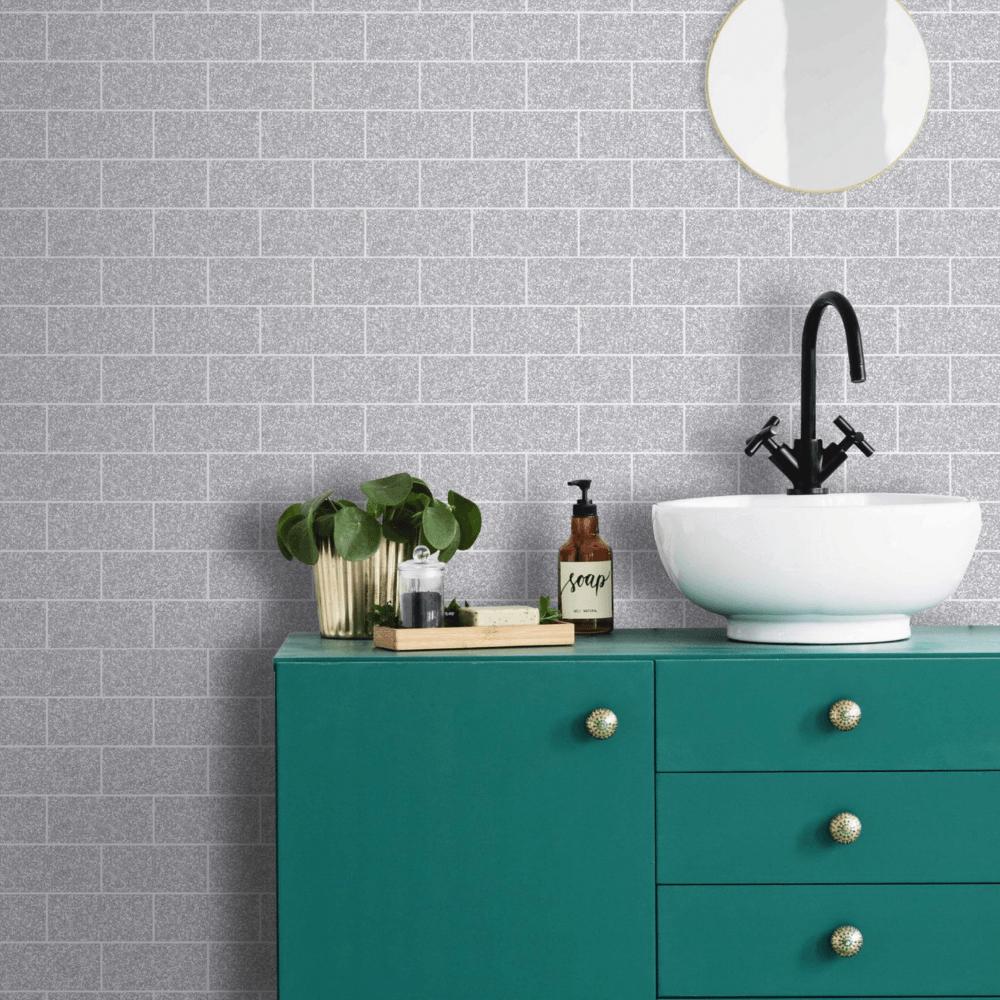 Graham & Brown Contour Silver Tile Glitter Wallpaper