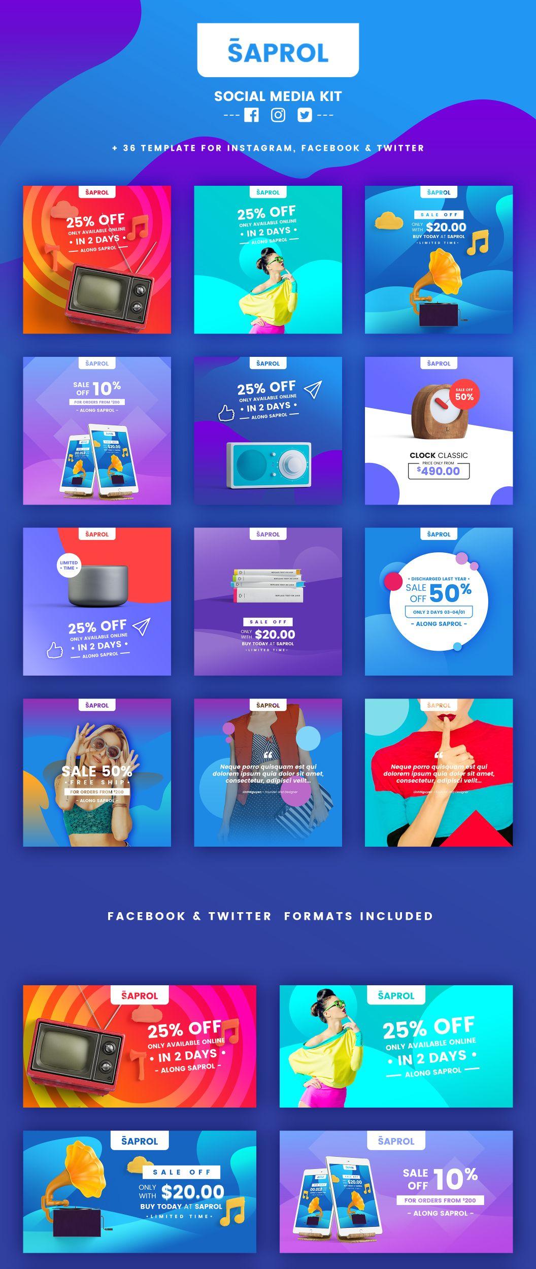 Saprol Social Media Kit A Handy Tool That Would Turn Your Artwork Into Engaging Promo Social Media Design Inspiration Social Media Banner Social Media Branding