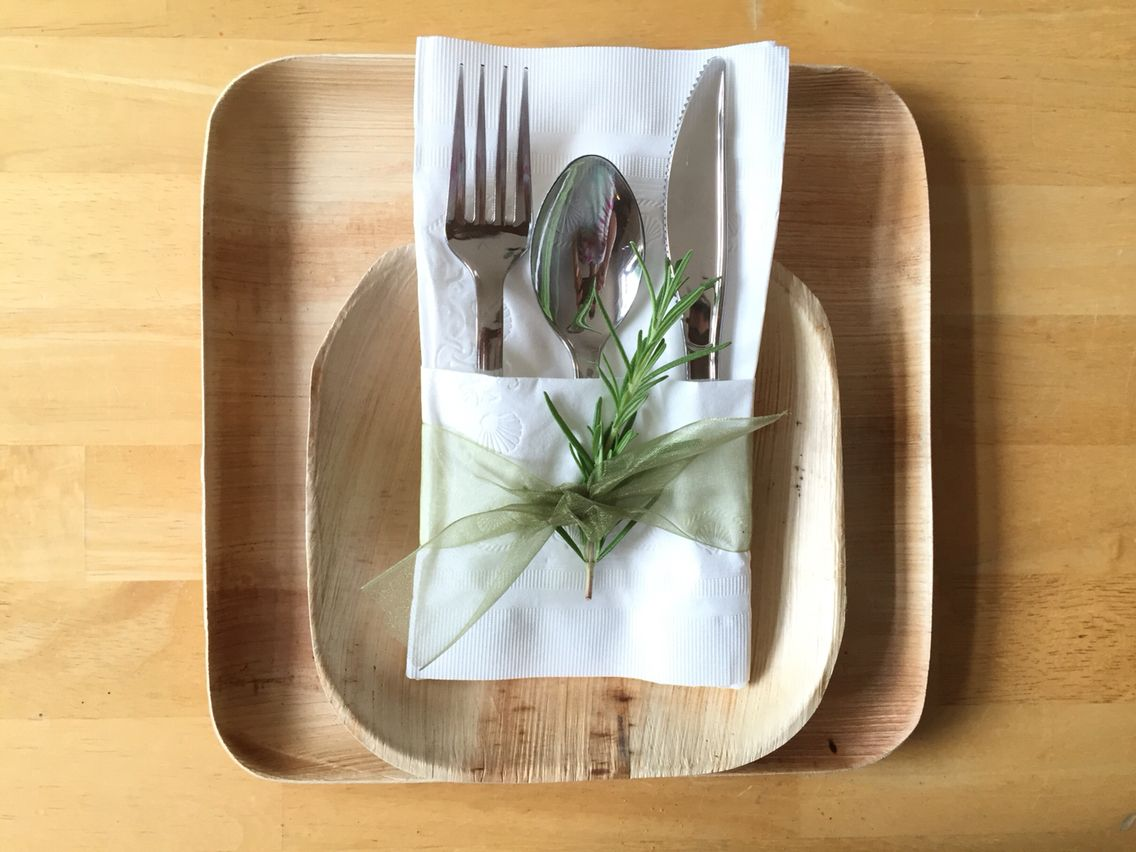 Complete Disposable Place Setting For A Wedding Or Event Plate And Bowl Are Made From Fa Disposable Wedding Plates Wedding Plate Setting Bamboo Plates Wedding