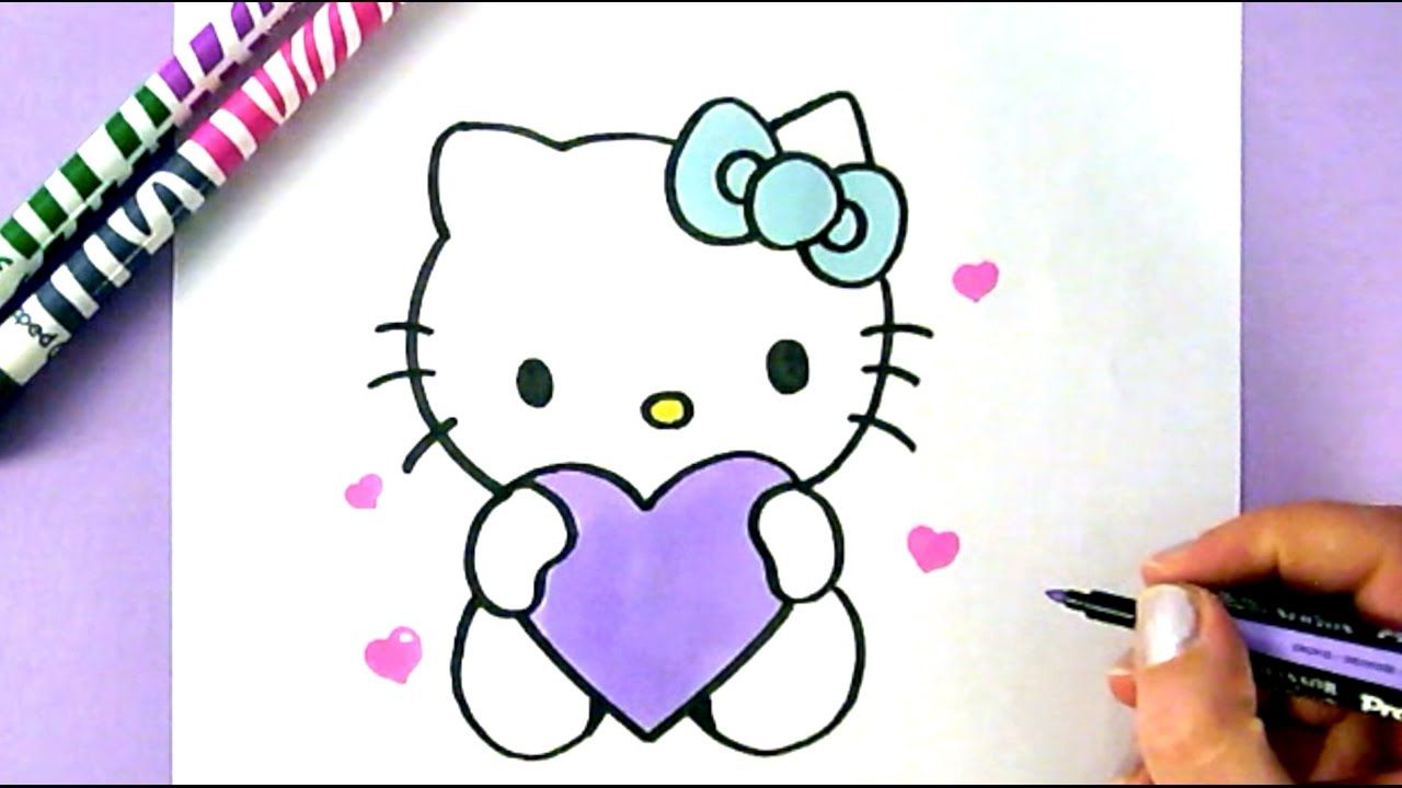 How To Draw Hello Kitty With Love Hearts Easy Drawing Tutorial Hello Kitty Drawing Kitty Drawing Cute Cartoon Drawings