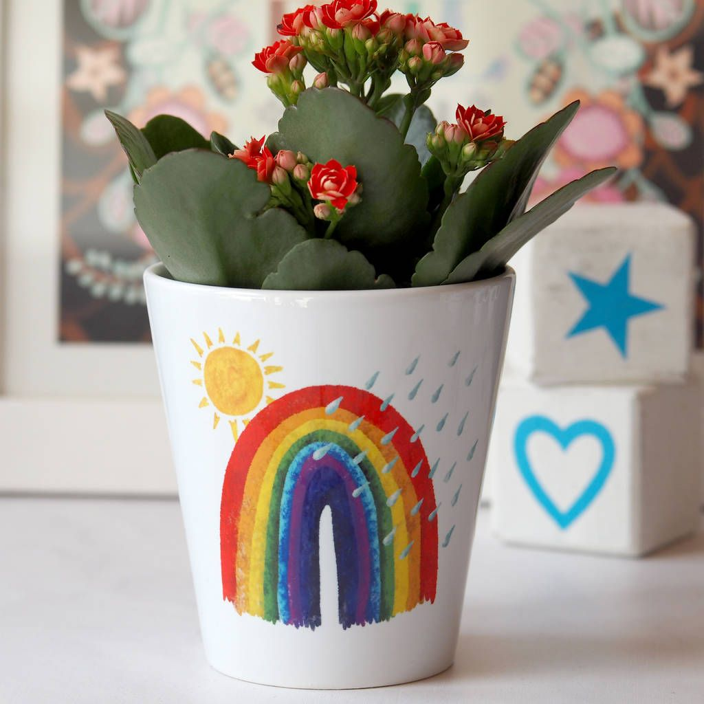 Mothers day rainbow personalised plant pot gift