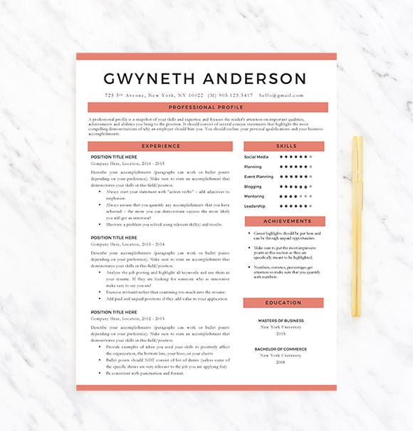 Cool Resumes Sleek, simple resume template with a pop of color - simple resumes that work