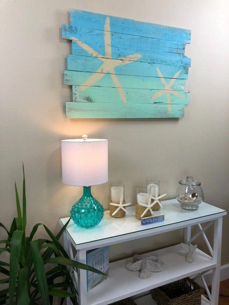 Photo of Beach Decor Starfish on Blue Sky Over Turquoise Sea Tropical Wall Hanging 24″L x 36″W – nautical decor, beach house, Lanai