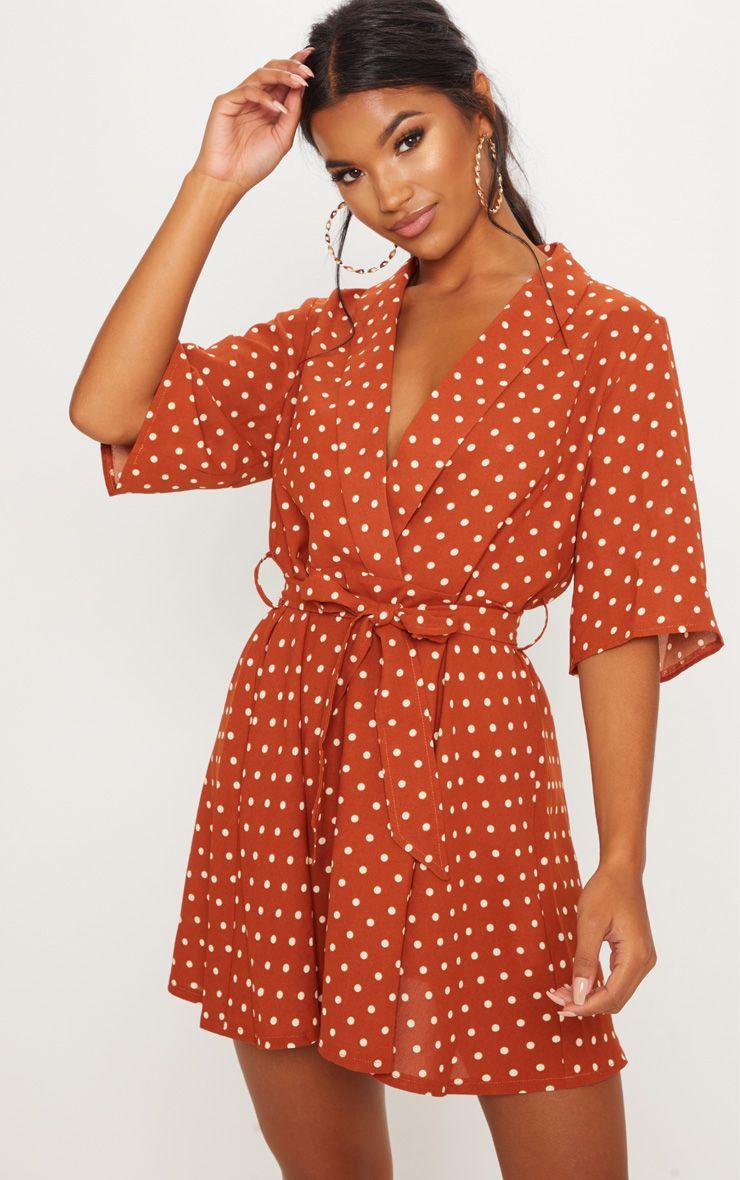 Terracotta Polka Dot Tea Dress   Tea