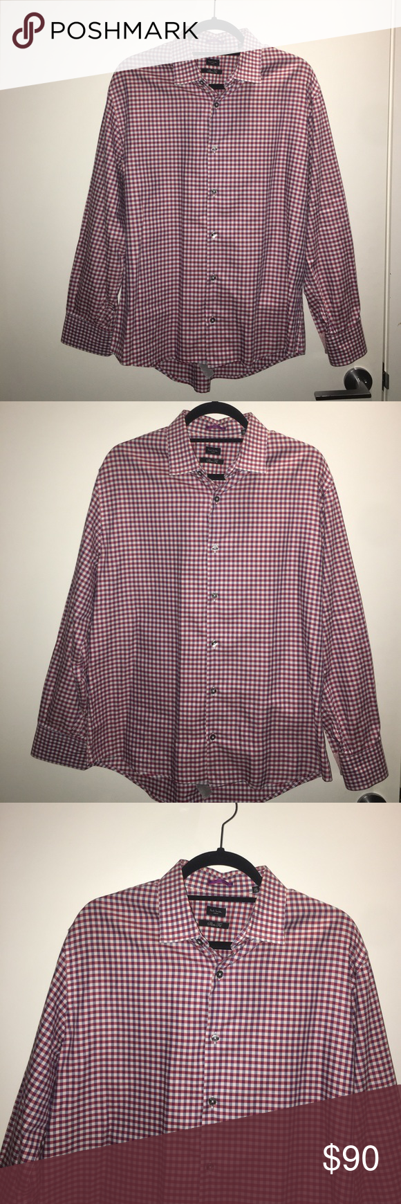 "Paul Smith London Slim Fit Checkered Dress Shirt Paul Smith London slim fit checkered dress shirt. The colors are navy blue, maroon and off white. The size says 16.5/42 but the shirt was hemmed and the sleeves are 28"". Worn once. In EXCELLENT, like new condition. Made in Italy. Paul Smith Shirts Dress Shirts"