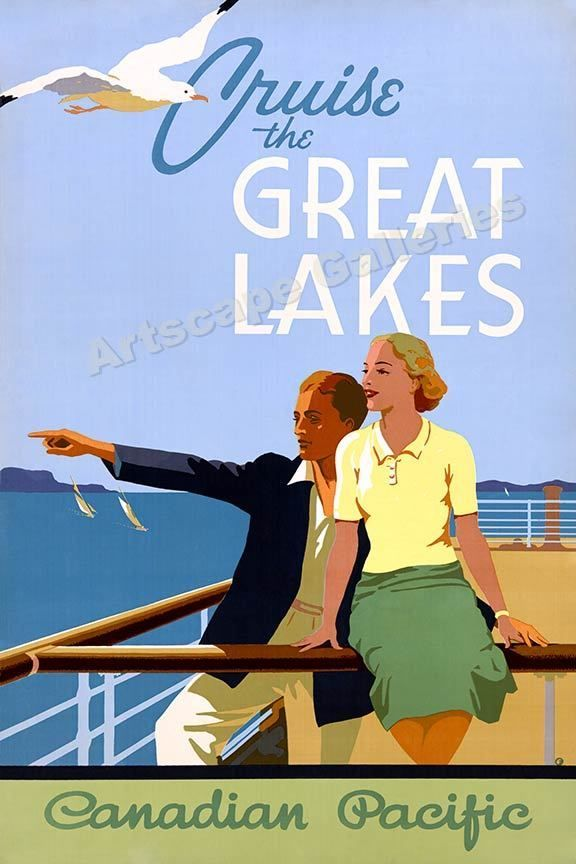 1939 cruise the great lakes vintage style travel poster 16x24