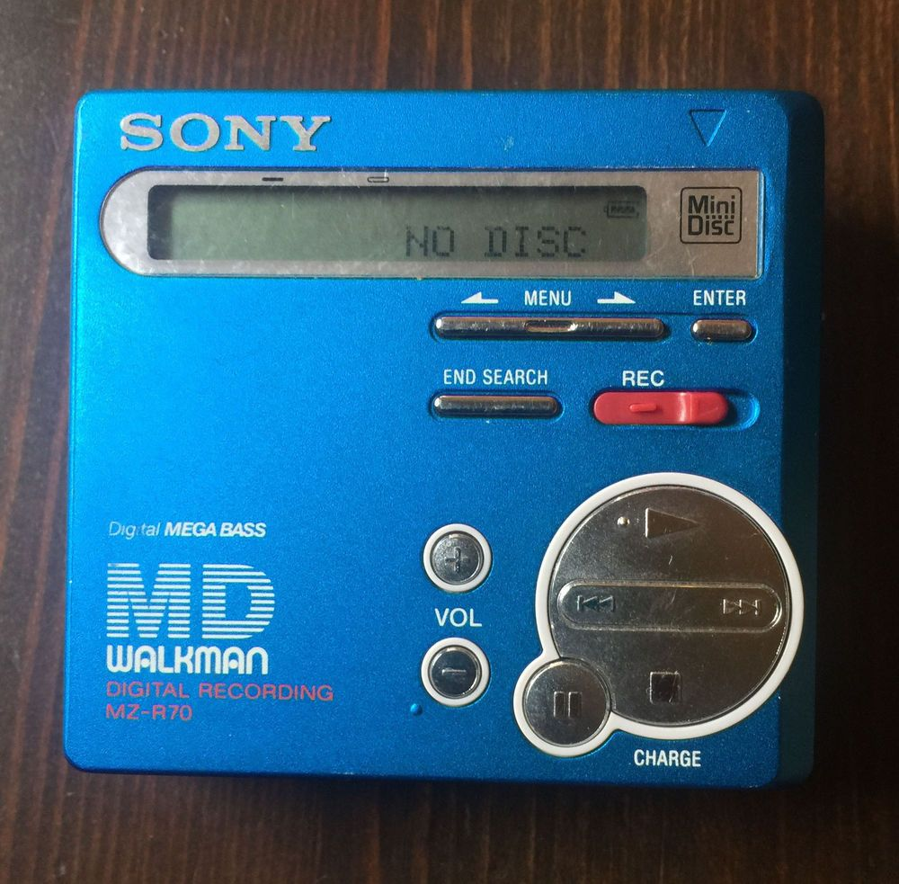 vintage sony md walkman mz r70 mini disc player blue. Black Bedroom Furniture Sets. Home Design Ideas