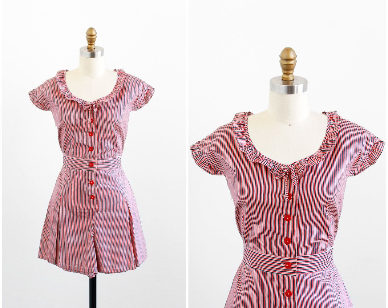vintage 1930s circus playsuit / romper / 30s Red, White, and Blue ...