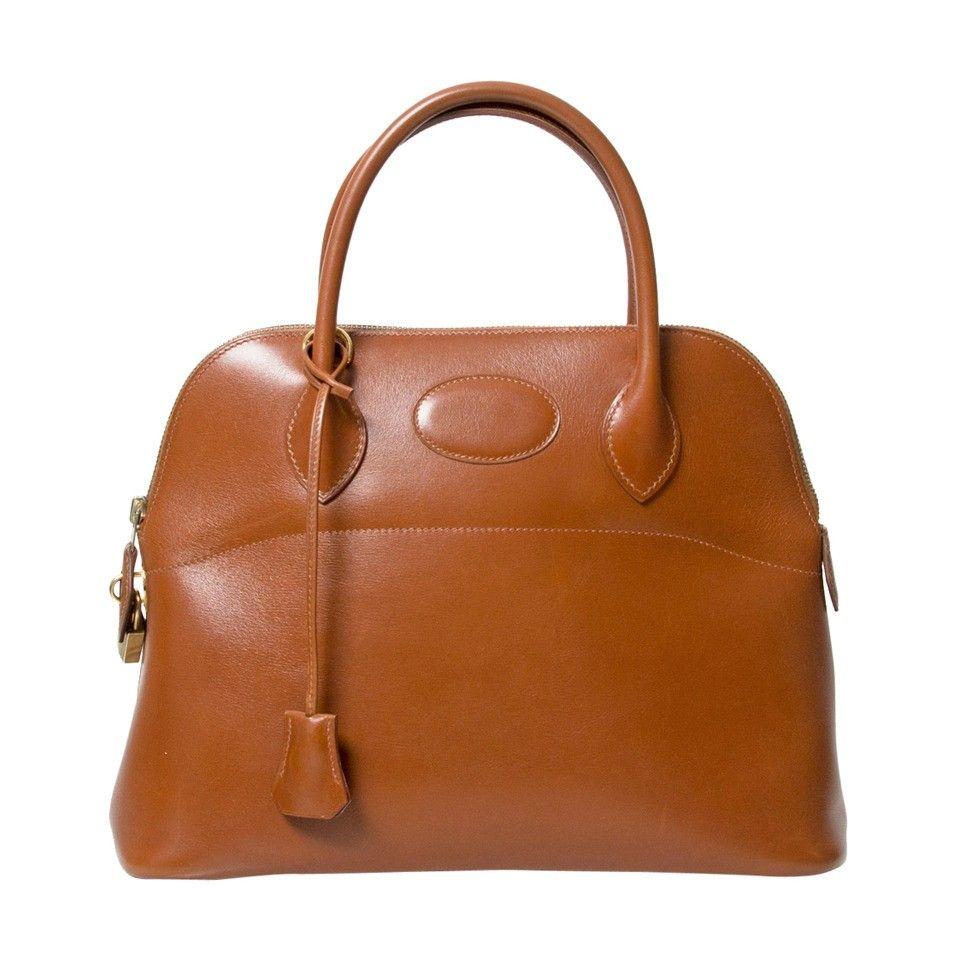 9ba5ca526671 Labellov Vintage Hermès Bolide 32 Cognac Box Calf Tote Bag ○ Buy and Sell  Authentic Luxury