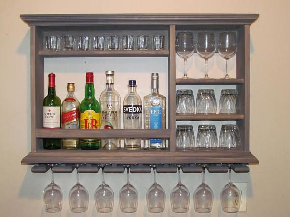 Mini Bar Weathered Gray Wine Rack 3 X2 Wall Mounted Etsy Mini Bar Wall Mounted Wine Rack Bar Shelves