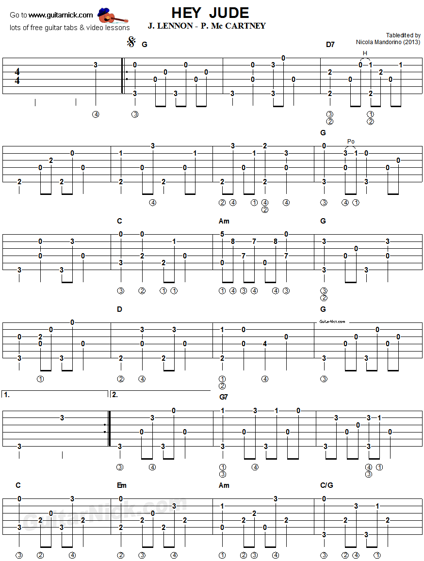 Hey Jude : Guitar Lessons : Pinterest : Guitars, Tablature and Guitar tabs