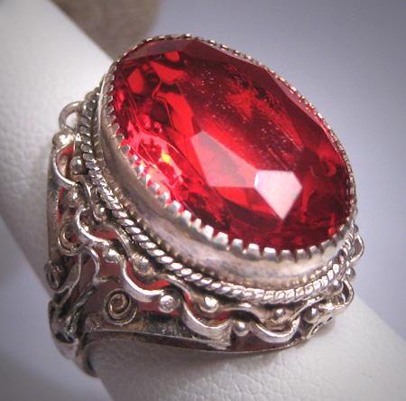 Genuine Ruby Ring Set In Italian Renaissance Filigree Sterling Silver Designer Ring