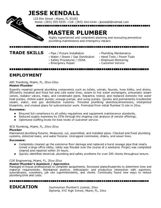 Resume Sample For Plumber Resumesdesign Job Cover Letter Job Resume Resume Examples