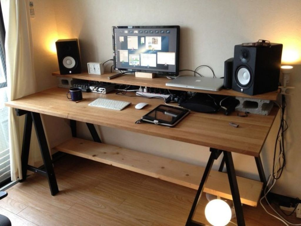 40 Stunning Computer Desk Design Ideas Home Studio Desk Home Office Setup Computer Desk Design