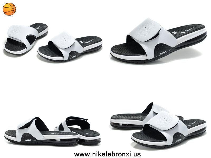 0614e545504c 487332 100 White Black Nike Air Lebron Slide For Sale