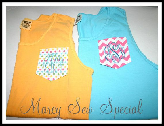 Monogram Comfort Colors Tank with Chevron by MarcySewSpecial